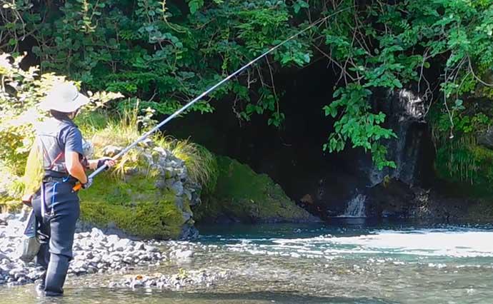 渓流エサ釣りで40cm超えニジマスに32cm尺上イワナ【山梨・桂川】