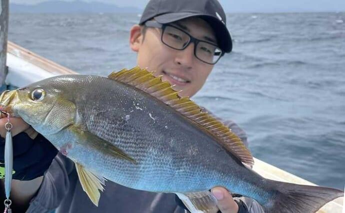 SLJでイサキ好釣 ジグのフォールスピード変化させ12匹【山口・健洋丸】