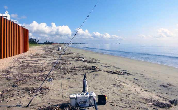 投げキス釣りで本命100匹釣果に大満足 最盛期突入で多点掛け連発