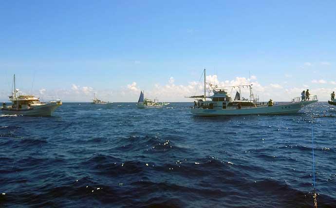 金洲遠征船でカツオ快釣 「オキアミ型ワーム」でも本命連続ヒット