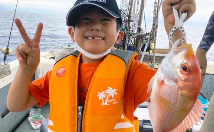 【響灘】沖釣り最新釣果 タイラバでマダイ他多彩な魚種がヒット中
