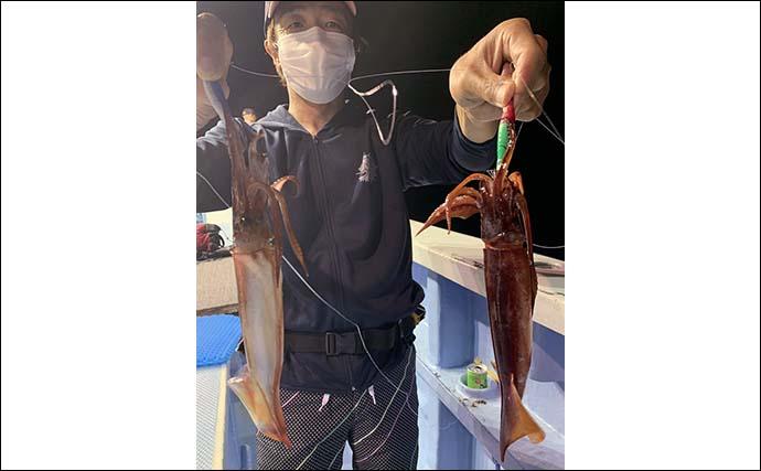 鹿島沖の夜イカメタルでスジイカ7匹 深場に集結したイカの攻略に苦戦