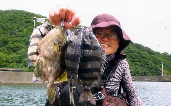イカダからのサンバソウ釣りで本命3尾 まきエサ量のさじ加減がキモ?