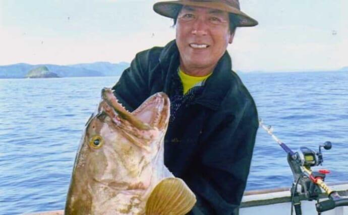 活きイカ泳がせ釣りでアラ(クエ)狙い 11.3kg本命ほか128cmヒラマサ