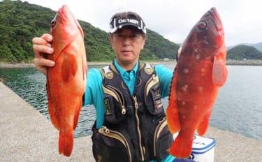 エサ釣りで2kg級頭にアカハタ連発 消波ブロック周りを石鯛仕掛けで狙う