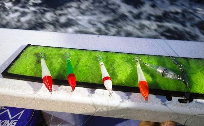 常磐沖で「夜イカ釣り」スタート 荒れた海でも柔軟な竿&タダ巻きで好釣