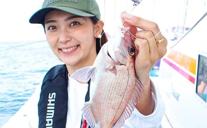 テンヤマダイ釣りで小型ながらも美マダイをキャッチ【千葉・つる丸】