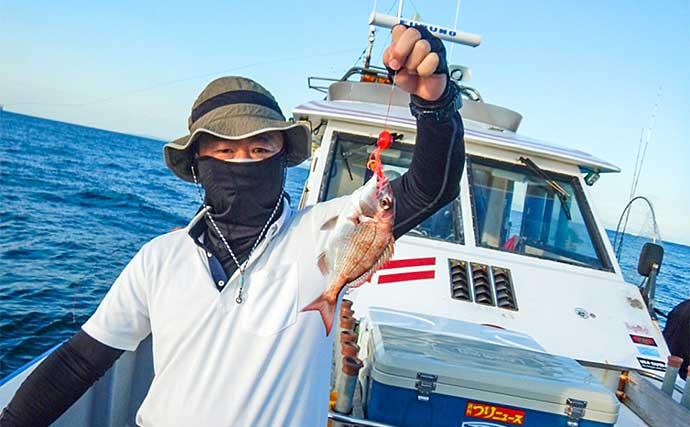 タイラバで70cm大型マダイ浮上に満足 超微速でのタダ巻きにヒット