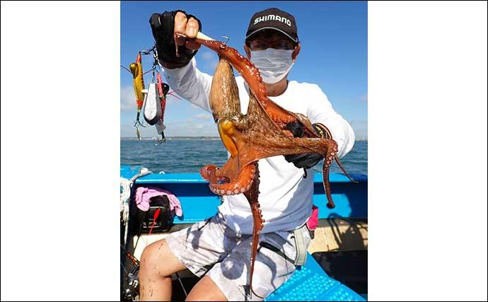 エギタコ釣りでビギナー含め船中全員安打 1.5kg頭に5~20尾の快釣