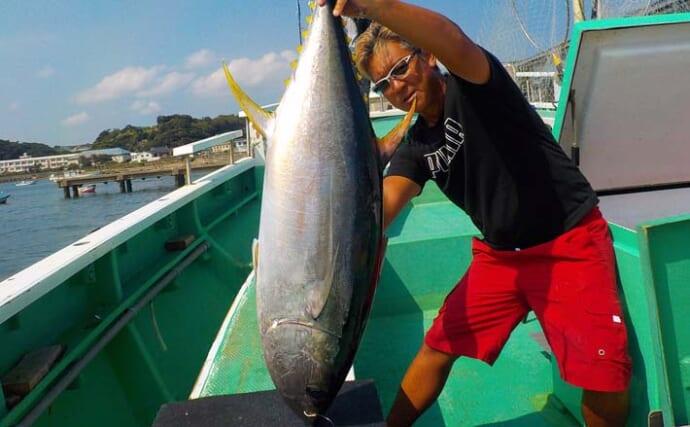 コマセマグロ船で23kgキハダ顔出し 上のタナ狙い&置き竿釣法が奏功?