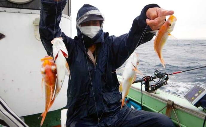 沖五目釣りで魚種多彩な釣果に堪能 レンコダイは釣る人で89尾