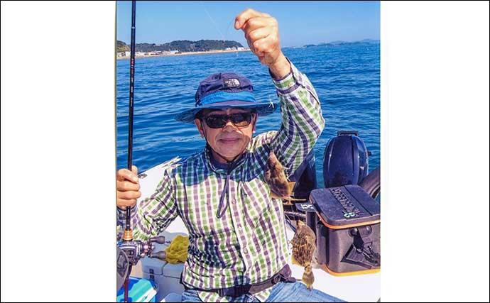 ボートカワハギ釣りで21cm頭に80匹 高活性な群れ発見で船中220匹超