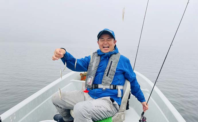 ボートワカサギ釣り満喫 釣魚泳がせて『コーホーサーモン』も登場
