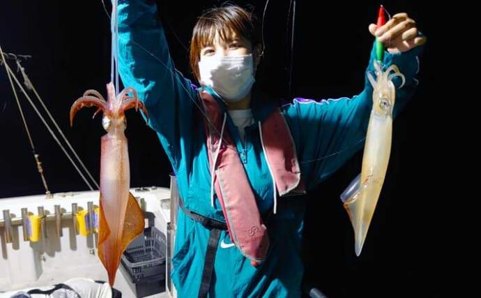 【福井】沖釣り最新釣果 イカメタル便のマイカ好調で釣る人60匹