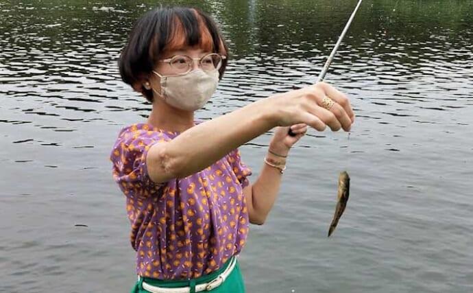 ノベ竿でのウキ釣りで良型ハゼ入れ食い堪能 サイズは5cm級が中心
