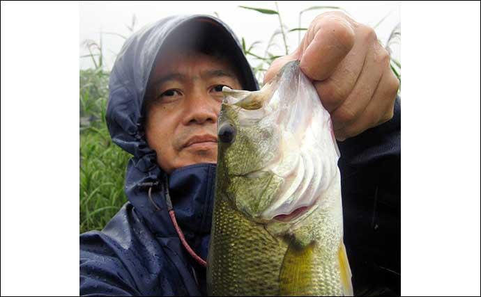 ブラックバス釣りで38cm手中 小型入れ食いの時間も【岐阜・大江川】