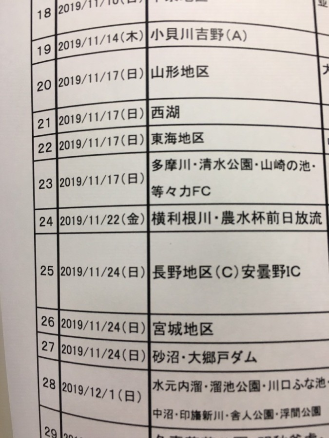 今週22日(金)は横利根川新ベラ放流&日研農水杯